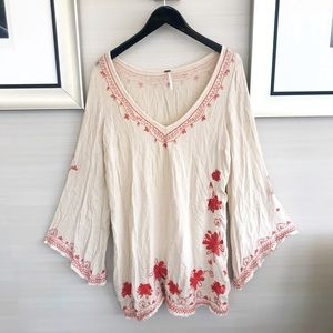 Free People Bohemian Floral Embroidered Dress